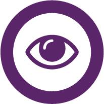 Purple eye denoting vision.
